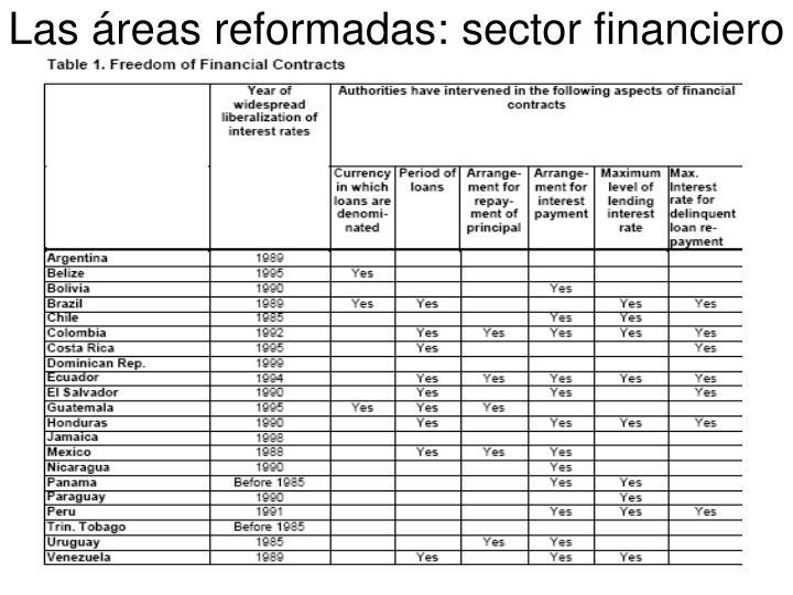 Las áreas reformadas: sector financiero