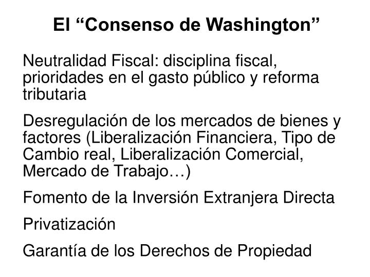 "El ""Consenso de Washington"""