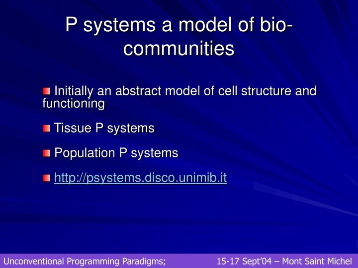 P systems a model of bio-communities