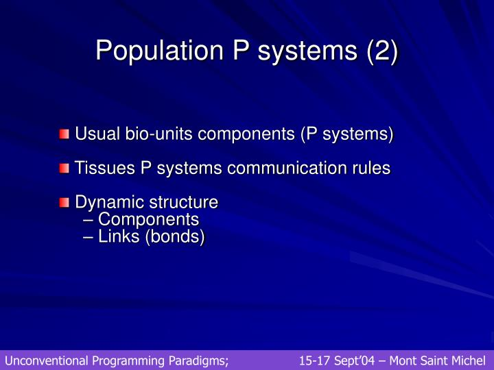 Population P systems (2)