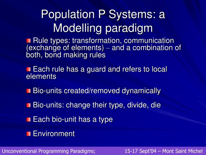 Population P Systems: a Modelling paradigm