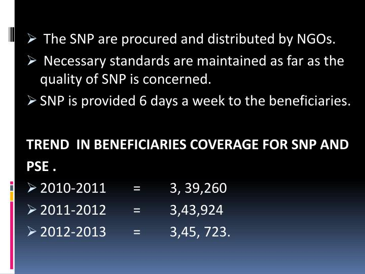 The SNP are procured and distributed by NGOs.