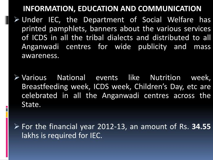 INFORMATION, EDUCATION AND COMMUNICATION