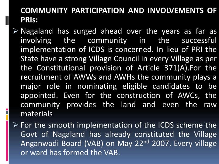 COMMUNITY PARTICIPATION AND INVOLVEMENTS OF PRIs: