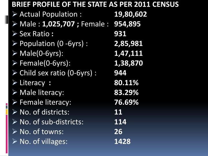 BRIEF PROFILE OF THE STATE AS PER 2011 CENSUS
