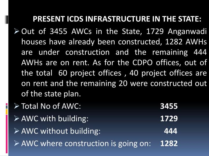 PRESENT ICDS INFRASTRUCTURE IN THE STATE: