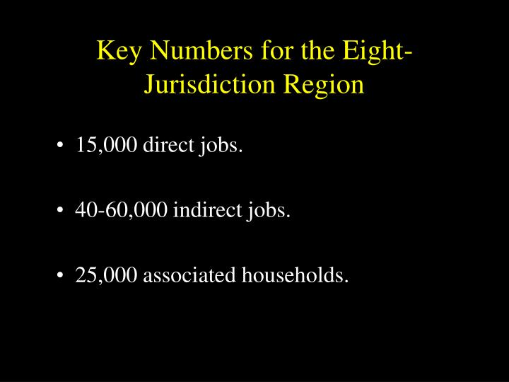 Key Numbers for the Eight-Jurisdiction Region