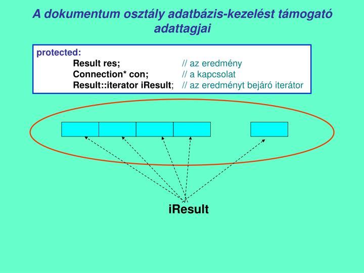 A dokumentum osztály adatbázis-kezelést támogató adattagjai