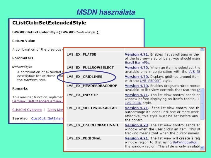 MSDN használata