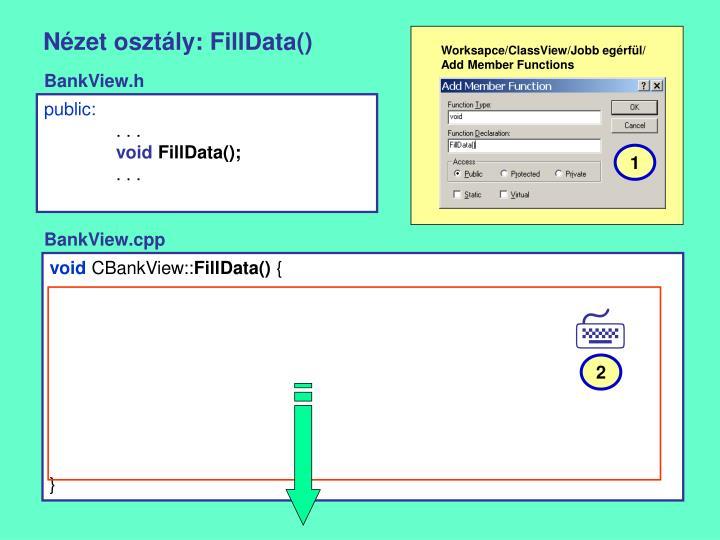 Nézet osztály: FillData()