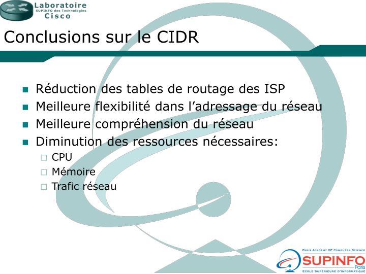 Conclusions sur le CIDR
