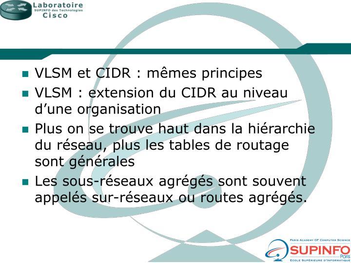 VLSM et CIDR : mêmes principes