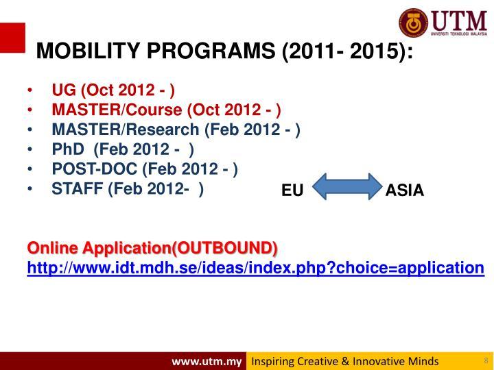 MOBILITY PROGRAMS (2011- 2015):