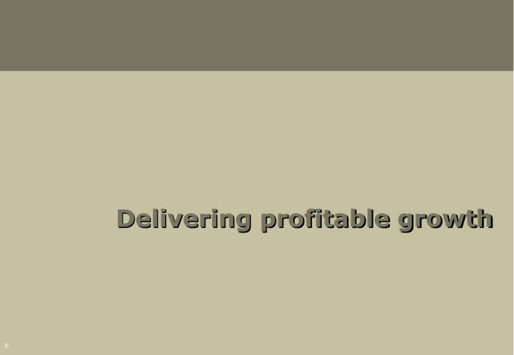 Delivering profitable growth