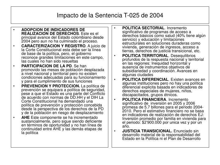 ADOPCION DE INDICADORES DE REALIZACION DE DERECHOS