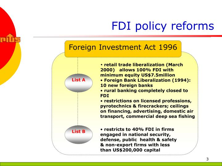 FDI policy reforms