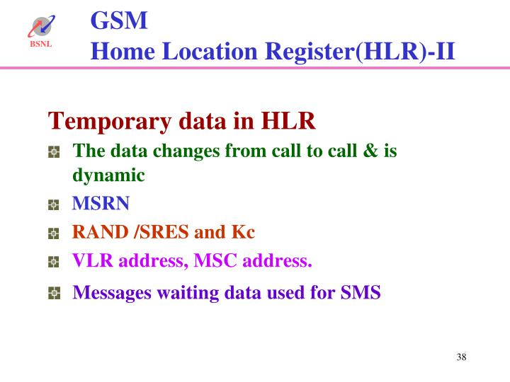 Temporary data in HLR