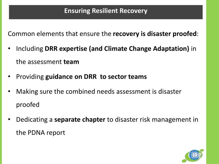 Ensuring Resilient Recovery