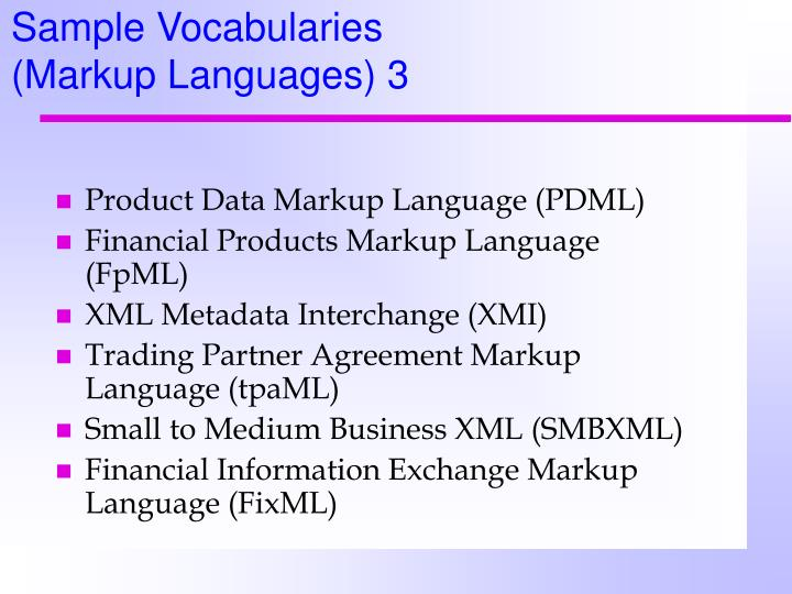 Sample Vocabularies