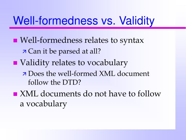 Well-formedness vs. Validity