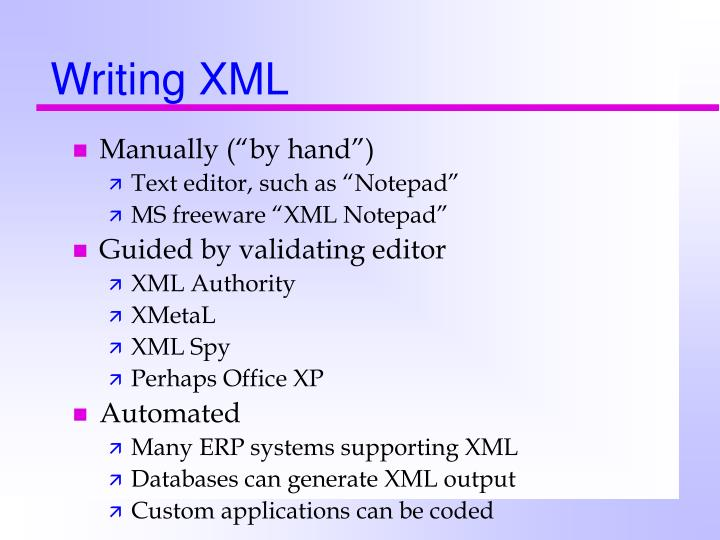 Writing XML