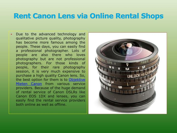 Rent canon lens via online rental shops