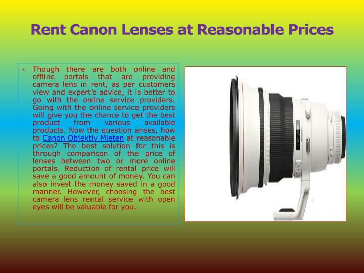 Rent canon lenses at reasonable prices