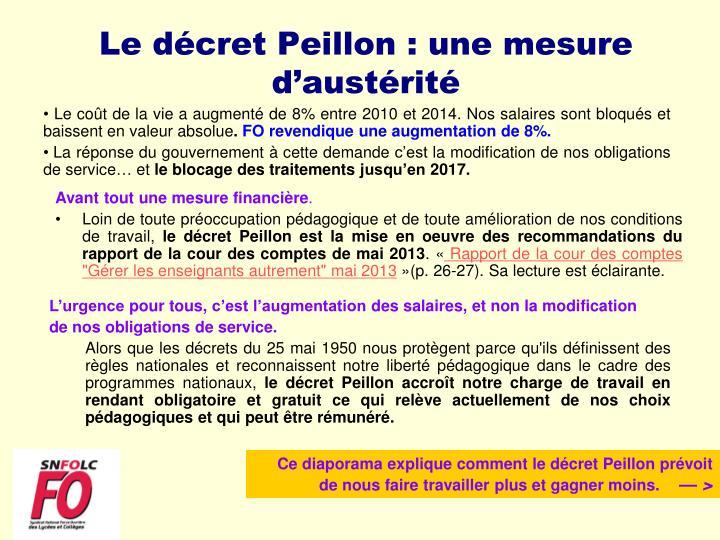 Le décret Peillon : une mesure d'austérité