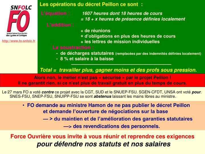 Les opérations du décret Peillon ce sont  :