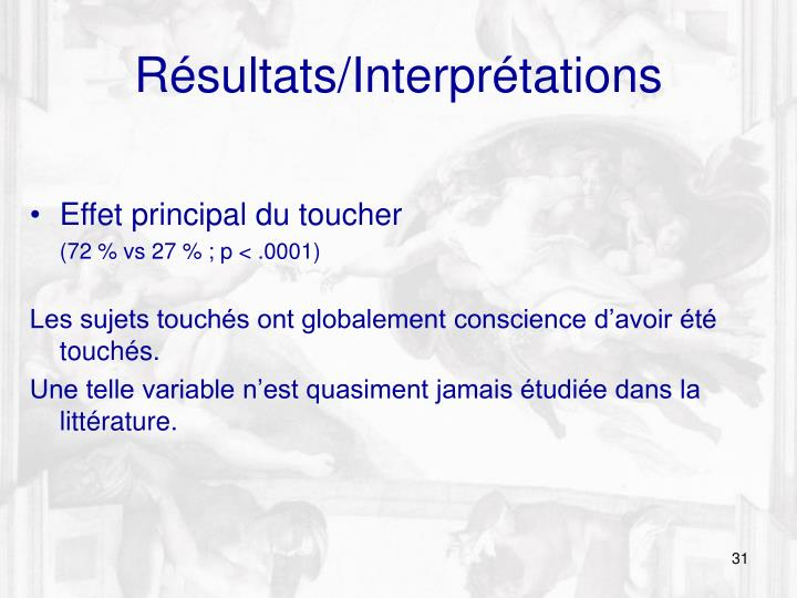 Résultats/Interprétations