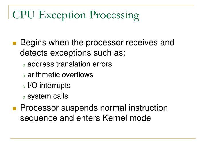 CPU Exception Processing