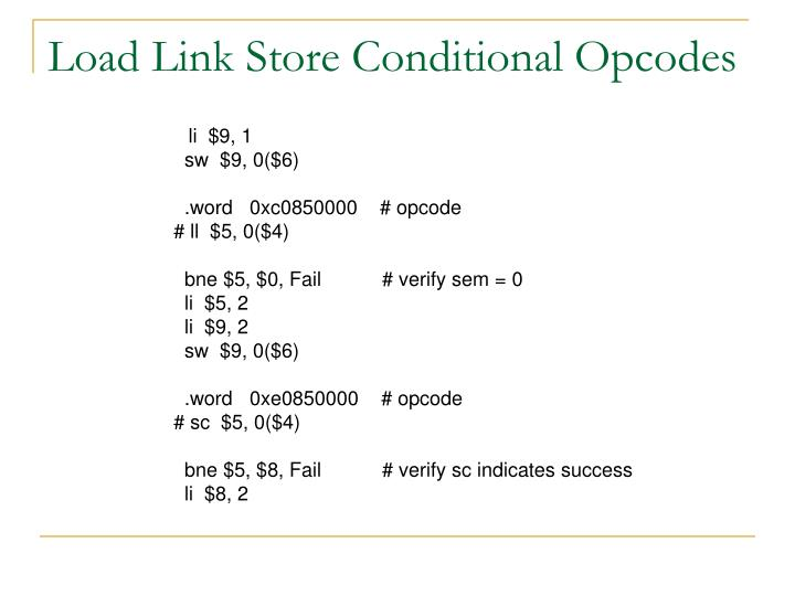 Load Link Store Conditional Opcodes