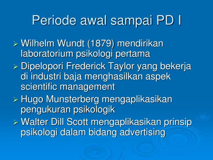 Periode awal sampai PD I