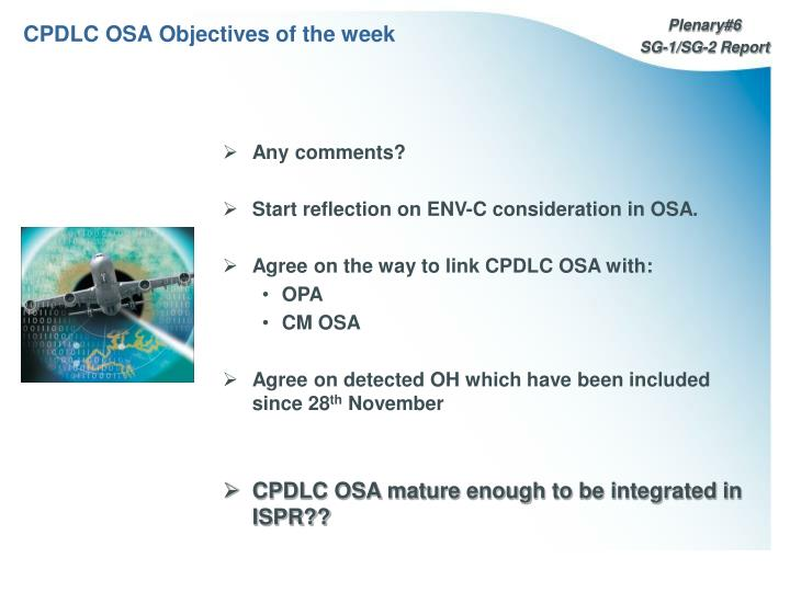 CPDLC OSA Objectives of the week