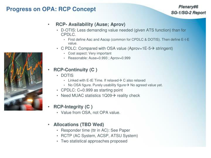 Progress on OPA: RCP Concept