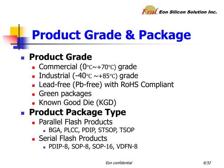 Product Grade & Package