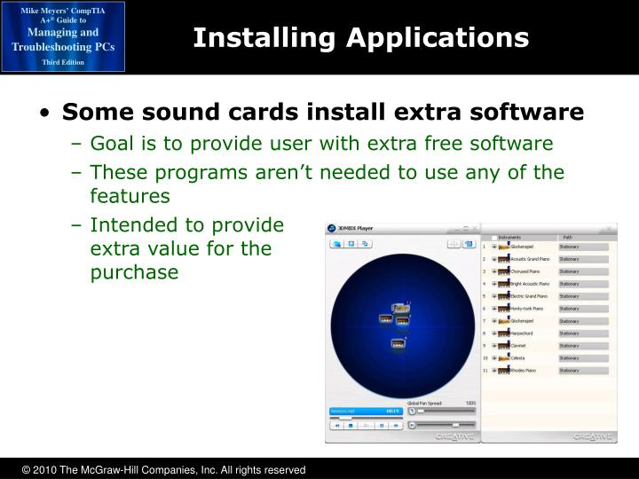 Some sound cards install extra software