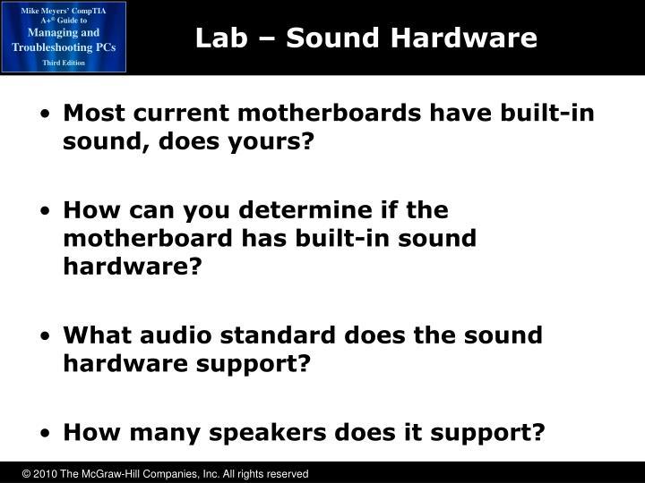 Lab – Sound Hardware