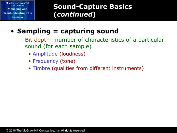 Sampling = capturing sound
