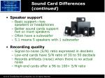 sound card differences continued