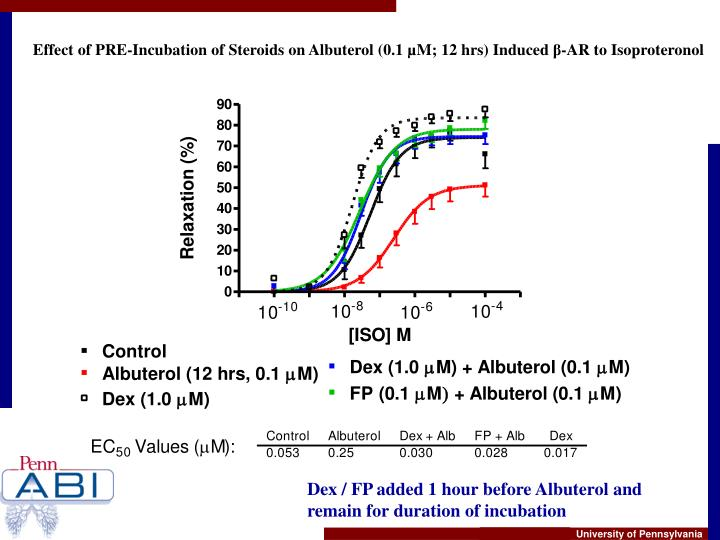 Effect of PRE-Incubation of Steroids on Albuterol (0.1