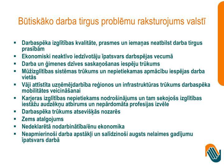 Būtiskāko darba tirgus problēmu raksturojums valstī