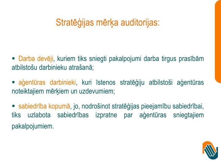 Stratēģijas mērķa auditorijas: