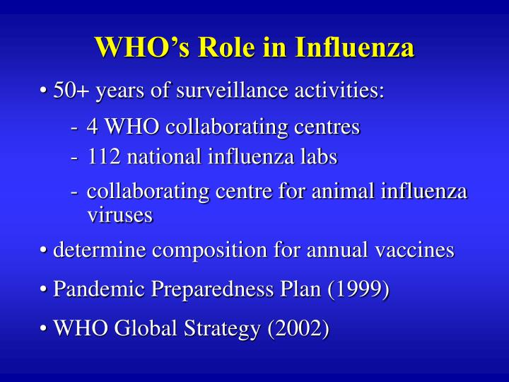 WHO's Role in Influenza