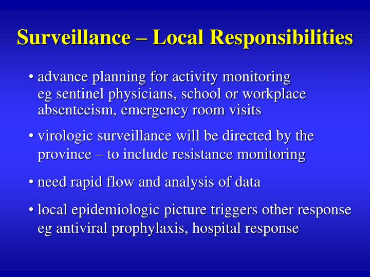 Surveillance – Local Responsibilities