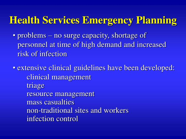 Health Services Emergency Planning