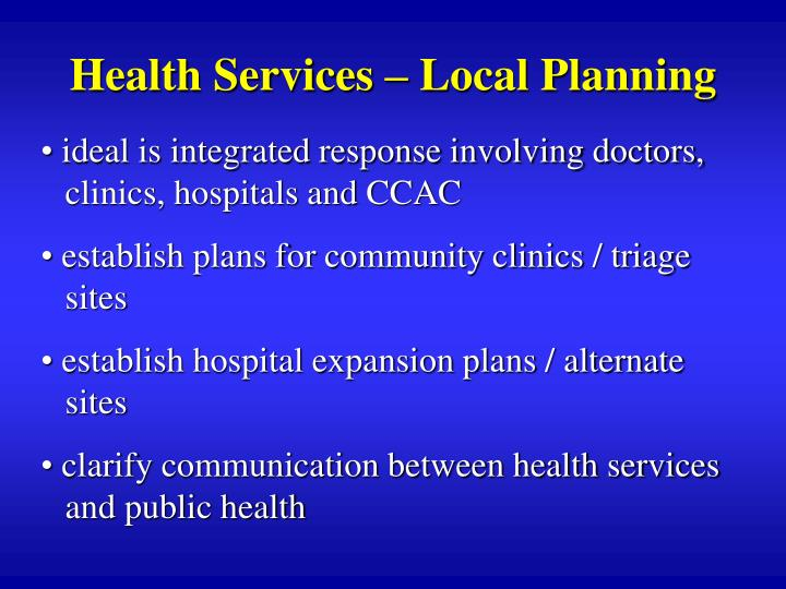 Health Services – Local Planning
