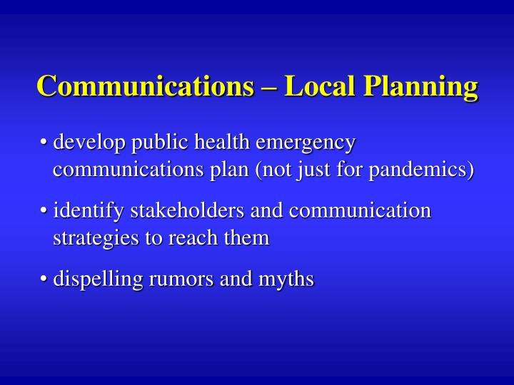 Communications – Local Planning
