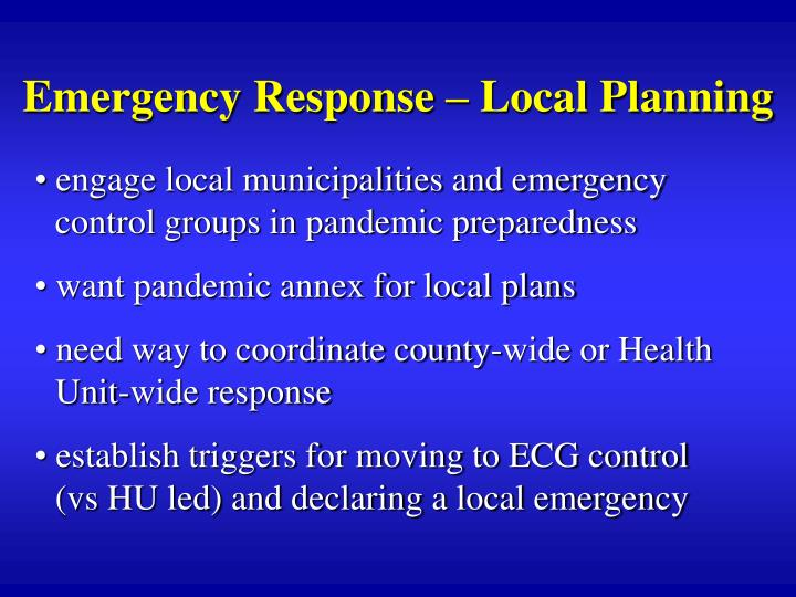 Emergency Response – Local Planning