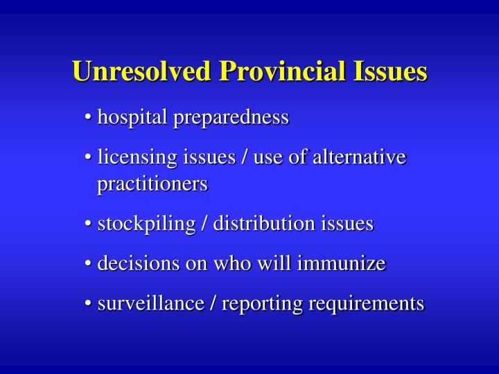 Unresolved Provincial Issues